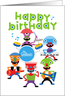 Cute Alien Monsters Rock Band, Happy Birthday card