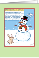 Bunny Rabbit Eyeballing Snowman's Carrot Nose, Funny Christmas card