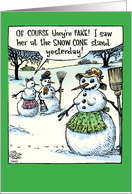 Snowman Fake Boobs card
