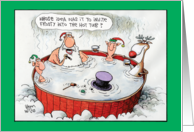 Invite Frosty Hot Tub Humor Christmas Card