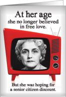 Senior Citizen Discount on Love B&W TV Valentines Day card