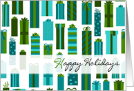 Green and Blue Wrapped Presents Happy Holidays Card