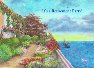 Retirement party invite with coastal art Greeting Card