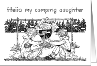 Vintage Girls Playing by Campfire Letter from Home to Daughter at Camp card