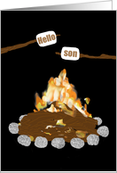 Letter for Son at Camp - Fire, Marshmallows Roasting, toasted words card