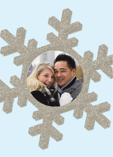 Custom Photo Winter Themed Snowflake Engagement Party Invitation Greeting Card