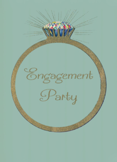 Retro Engagement Party Invitation Vintage Diamond Ring, Glitter-effect Greeting Card