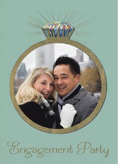 Retro Engagement Party Invitation Vintage Diamond Ring, Custom Photo Greeting Card