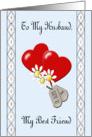 Husband Happy Anniversary - Hearts, Daisies & Dog Tags Card