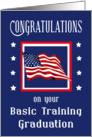 Congratulations Basic Training Graduation - American Flag & Stars card