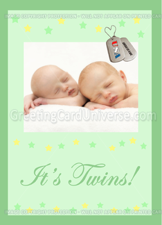 Military Birth Announcement for Twins - Photo, Greeting Card