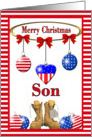 Christmas for Military Son - Ornaments & Combat Boots card