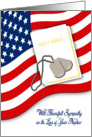 Military Sympathy for Loss of Nephew - American Flag, Bible, Dog Tags card