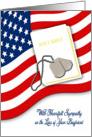Military Sympathy for Loss of Boyfriend - Ameri.Flag, Bible, Dog Tags card