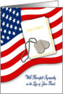 Military Sympathy for Loss of Fiance - American Flag, Bible, Dog Tags card