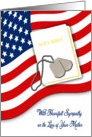 Military Sympathy for Loss of Mother - American Flag, Bible card