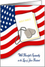 Military Sympathy for Loss of Husband - American Flag, Bible, Dog Tags card