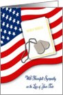 Military Sympathy for Loss of Twin - American Flag, Bible, Dog Tags card