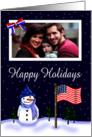 Custom Photo Mlitary Holiday Card - Snowman, American Flag, Dog Tags card