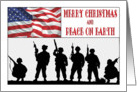 Patriotic Military Christmas - Silhouetted Soldiers & American Flag, card