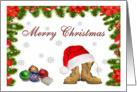 Military Merry Christmas - Santa Hat, Combat Boots & Ornaments card