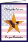 Congratulations Basic Training Graduation - Flag, Eagle, Gold Star card