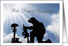 Military With Deepest Sympathy - Battlefield Cross, Soldier Silhouette card