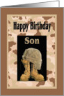 Birthday for Military Son, Camo & Combat Boots Card