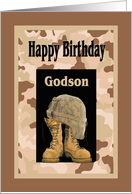 Birthday for Military Godson, Camo and Combat Boots Card