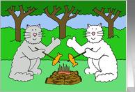 Thinking of you at summer camp cats waving. card