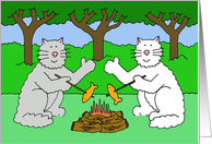 Thinking of you at summer camp cats waving. card