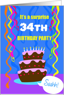 Surprise 34th Birthday Party Invitation, Ssshh! Cake & decorations card