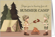 Summer Camp Thinking of You, boy campers, campfire, tent card