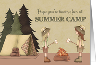 Summer Camp Thinking of You, girl campers, campfire, tent card