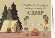 Daughter Summer Camp Thinking of You, girl campers, campfire, tent card