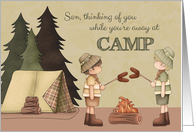 Son Summer Camp Thinking of You, boy campers, campfire, tent card