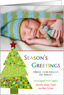 Season's Greetings Colorful Tree Custom Photo / Name card