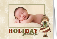 Holiday Greetings Candy Cane Angel custom photo card