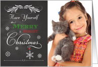 Chalkboard - Merry & Bright Christmas custom photo card
