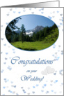 Mountain top hearts in white blue - Wedding Congrats Hiking card