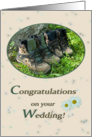 Hiking shoes and daisies in buck - Wedding Congrats Hiking card