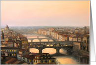 Sunset over Ponte Vecchio in Florence card