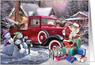 Hot Rod Christmas - Santas Vintage Truck card