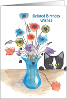 Cute Cat with Bouquet of Flowers for Belated Birthday card