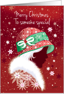 Christmas Girl in Red Hat. card