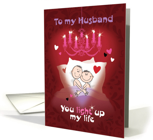Gay Valentine for Husband – Cartoon Male Couple in Bed