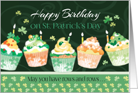 Birthday on St. Patrick's Day - Cupcakes in Irish Colours card