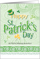 St. Patrick's Day, Decorative, Words, Leprechaun Hat, and Shamrock, card