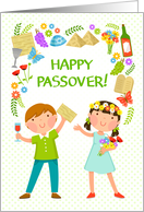 Happy Passover - kids and symbols of Passover and Spring card