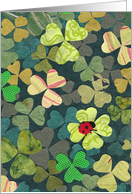 Ladybug on Four-Leaf Clover for St Patrick's Day card
